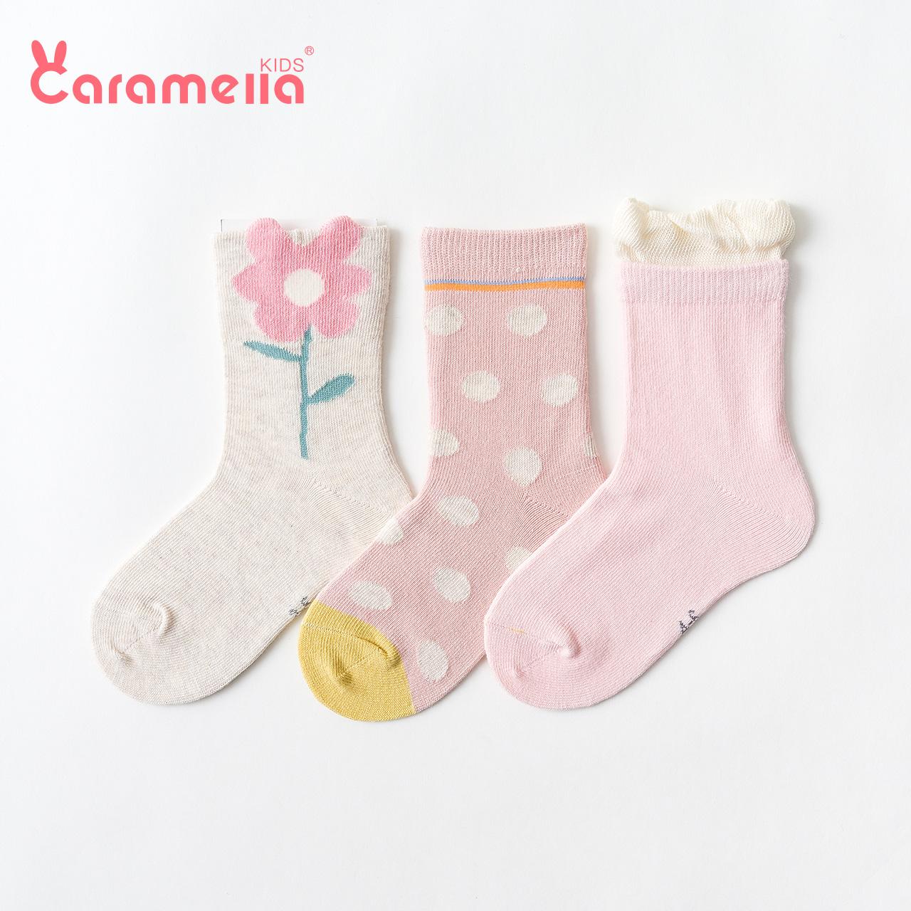 caramella宝宝袜子可爱超萌纯棉中筒袜秋冬婴儿袜子男女童袜