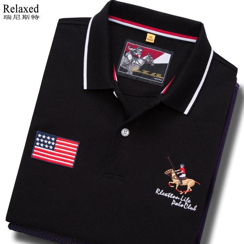 European Station cotton short sleeve Lapel T-shirt brand mens Polo Shirt USA polo shirt with tie collar