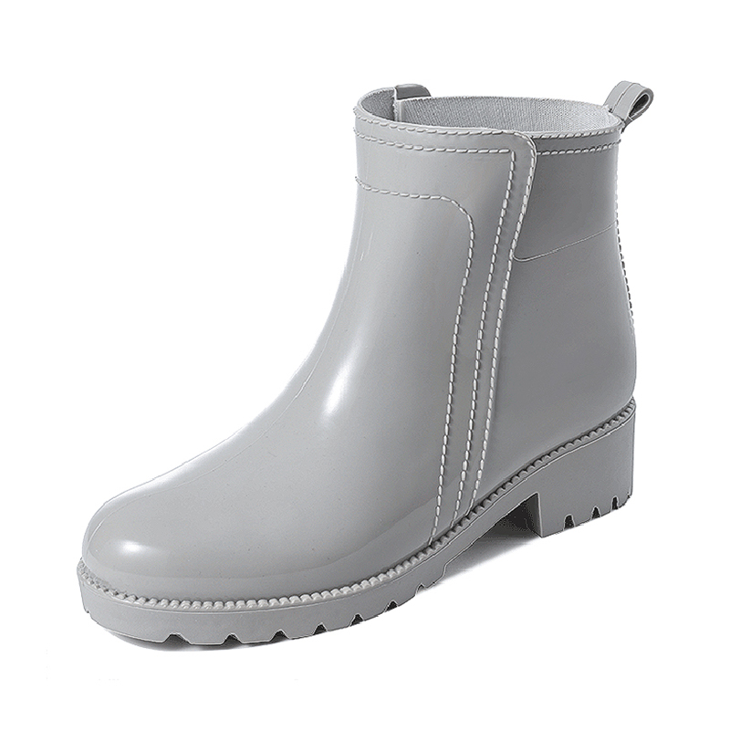 Rain boots ladies non-slip Martin rain boots short tube fashion style outer wear rubber shoes plus fleece overshoes low-top waterproof shoes