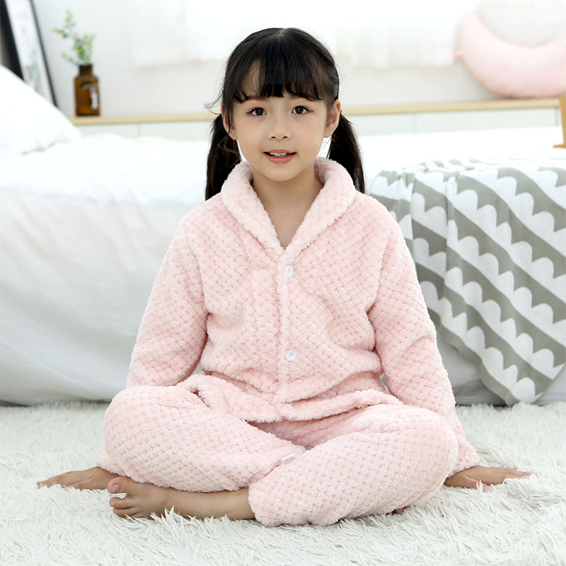 秋冬季儿童家居服男童女童宝宝珊瑚绒睡衣加厚男孩小孩法兰绒套装