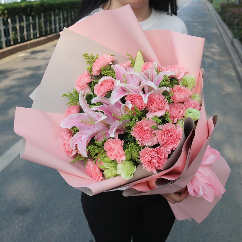 湘潭百合康乃馨混搭花束玫瑰鲜花速递同城湘乡岳塘雨湖生日送花店