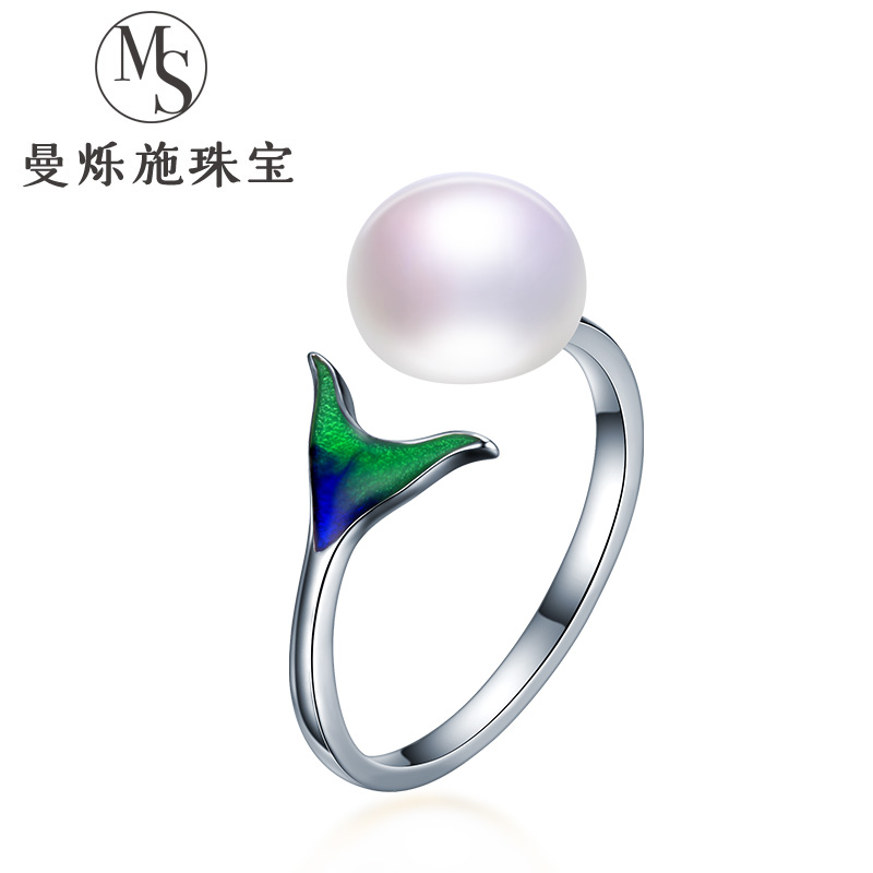 925 pure silver, silver, mermaid, foam, fresh water, real pearl ring, fish tail, tear opening design, finger ring, female index finger.