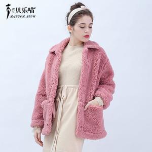羊羔绒短款外套女宽松加绒2019秋冬休闲小个子颗粒绒百搭女士外套