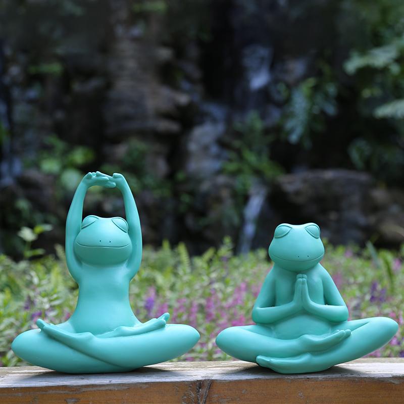 仿真瑜伽青蛙创意树脂摆件户外花园装饰摆设庭院园艺造景动物雕塑 Изображение 1