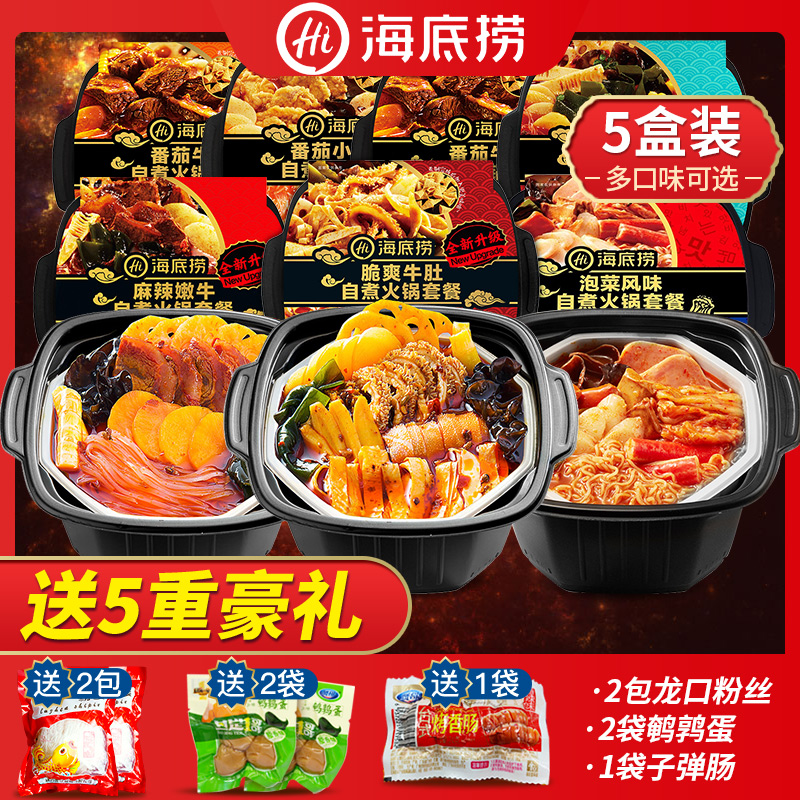 海底撈自熱小火鍋5盒一箱懶人方便自加熱速食品自助自煮5人份套餐