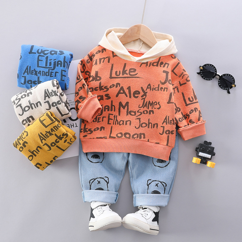 Ins childrens wear new small Terry loose thin round collar boys suit autumn Hoodie