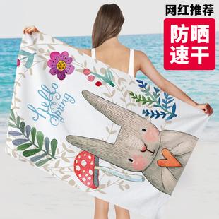沙滩巾吸水速干旅行防晒浴巾夏男女游泳运动健身快干超大毛巾儿童图片