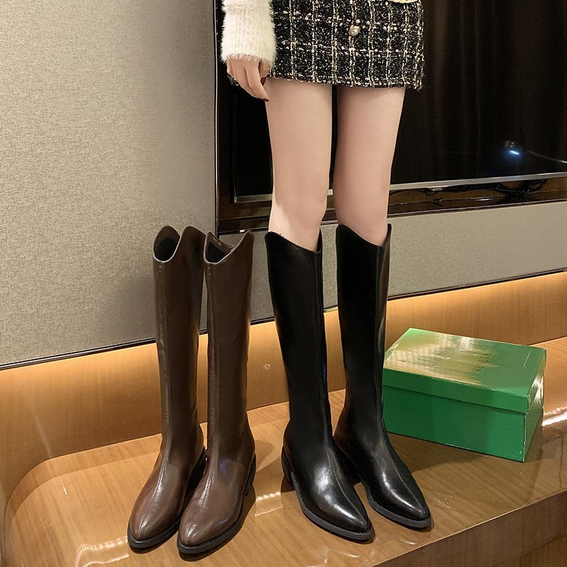Pointed Knight boots womens 2020 new versatile Plush high tube western fashion boots middle heel boots are below the knee