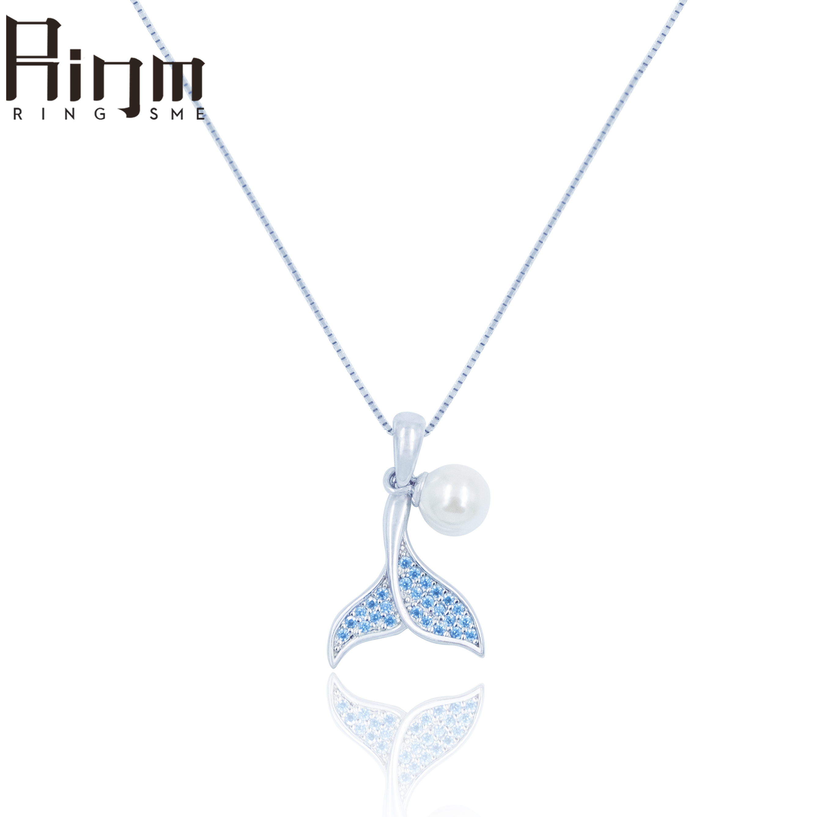 Ringsme whale pearl light luxury blue zirconium Sterling Silver clavicle Necklace