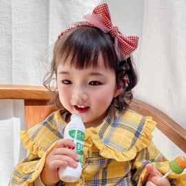 儿童可爱网格网纱蝴蝶结头饰发箍日系小清新蕾丝包边不伤发发带图片