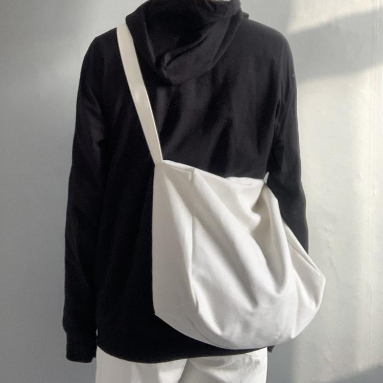 纯色佛系慵懒风帆布包斜挎丑帆布包