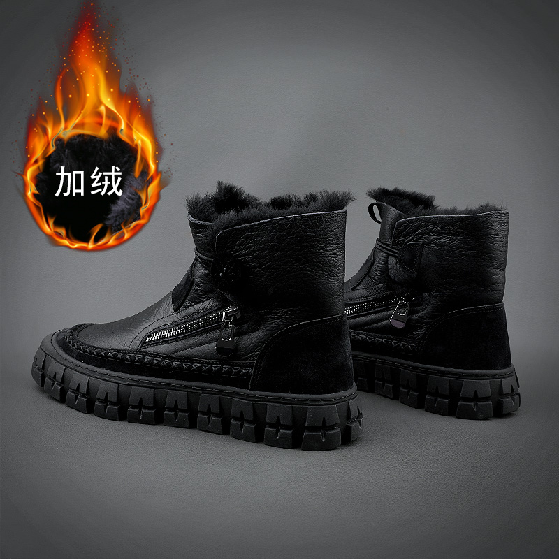 Mens boots autumn and winter fashion shoes new leather and sheepskin integrated snow boots cowboy boots youth Plush warm wool boots Northeast