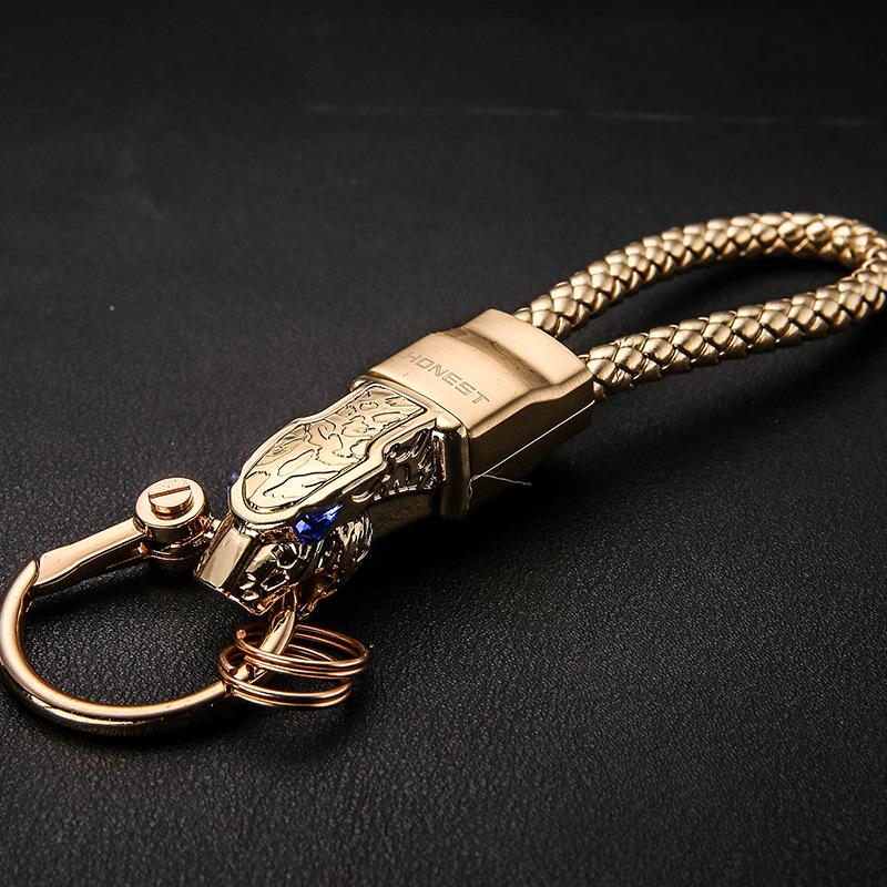 汽车用钥匙扣男士腰挂个性简约真皮创意时尚礼品高档LED灯钥匙链,可领取1元天猫优惠券