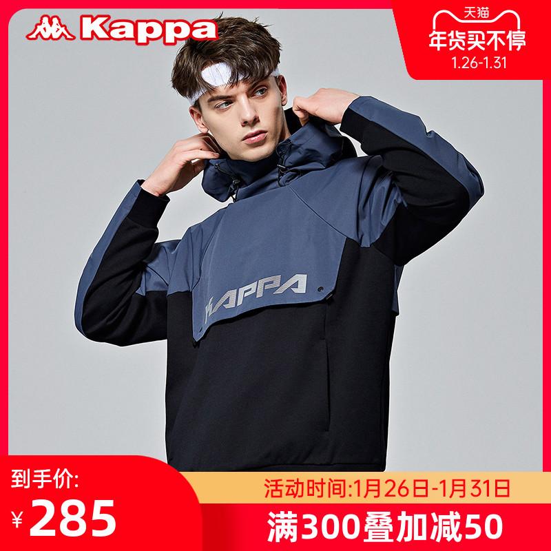 卡帕男串标防风衣休闲梭织外套拼接连帽长袖上衣新款Kappa