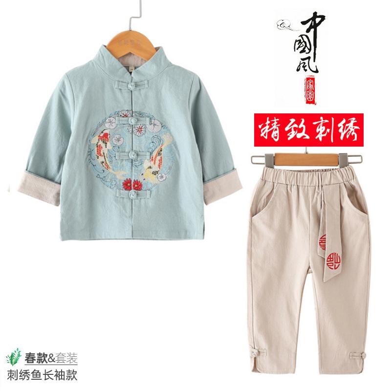 男童唐装春秋款男宝宝生日周岁礼服中国风儿童汉服套装古装演出服
