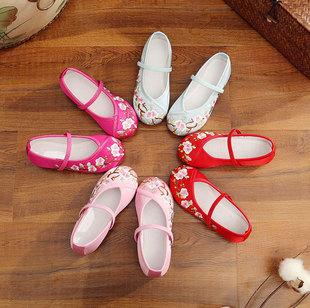 儿童绣花鞋女中国风古装汉服演出童鞋民族风女童宝宝公主布鞋女鞋