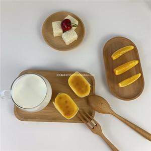 ins风木质餐具托盘圆形方形木盘简约榉木水果蛋糕甜品盘摆拍道具