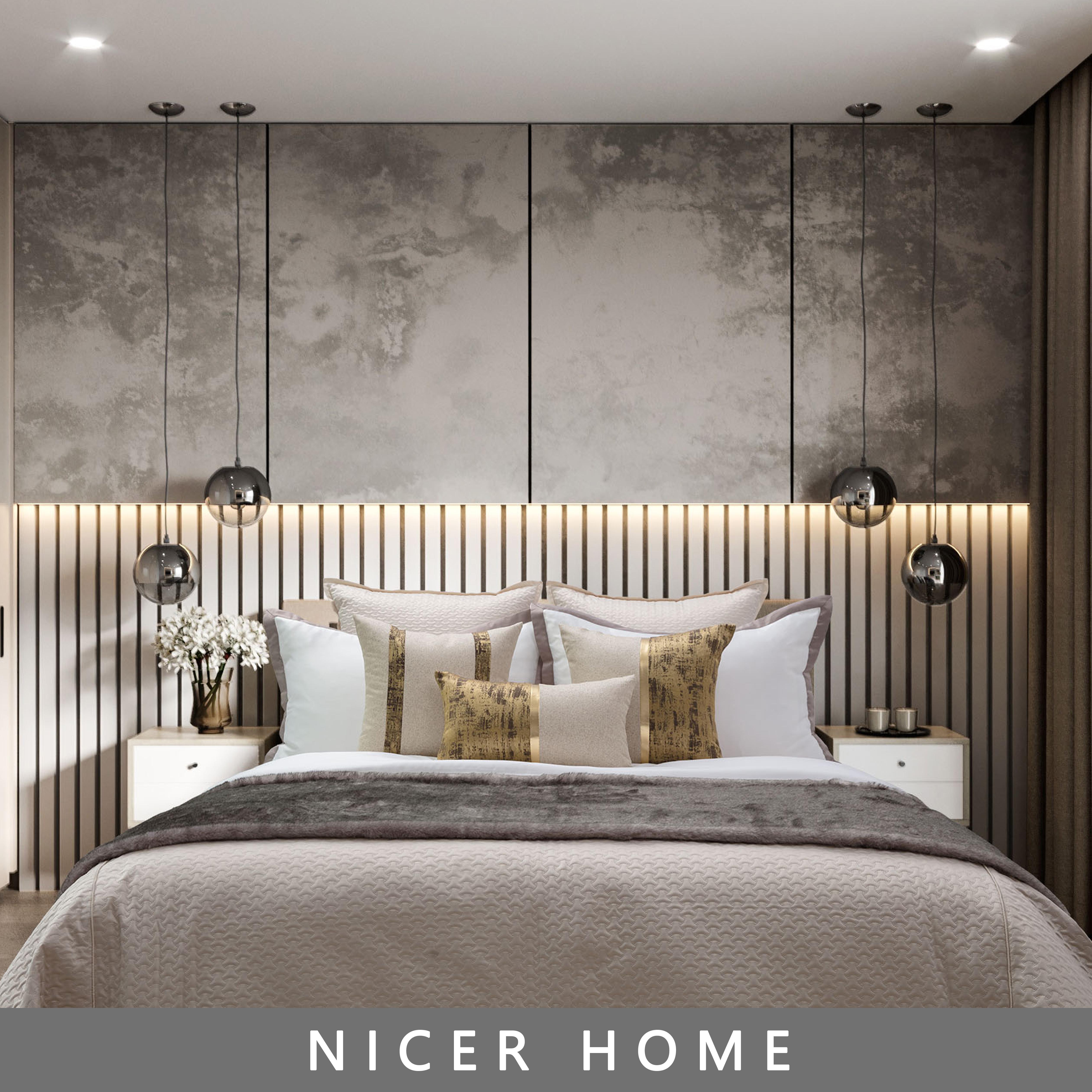 Modern luxury model room suite quilted bedding exhibition hall designer bedding suite Khaki 10 Piece Set
