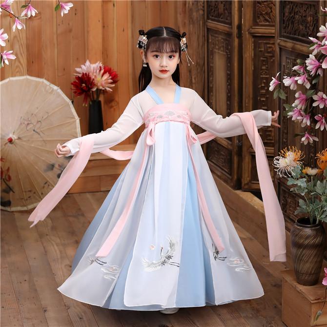 连衣裙夏装 儒裙中国风樱花公主裙超仙轻纱小女孩 汉服女童儿童古装