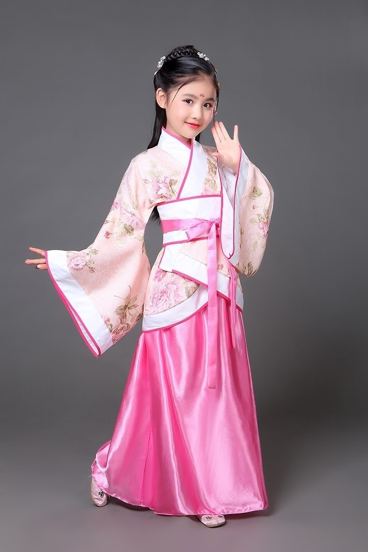 Family dress summer etiquette kindergarten girls spring wear Chinese style Hanfu Tang suit blue Tang