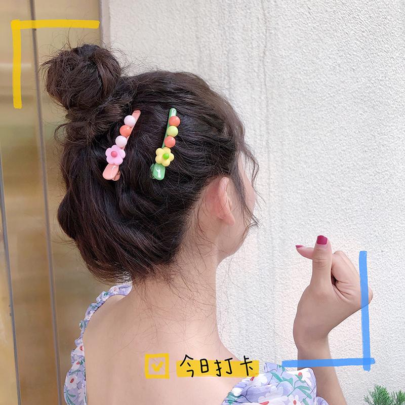 包邮泫雅风花朵网红顶夹糖果色女刘海夹