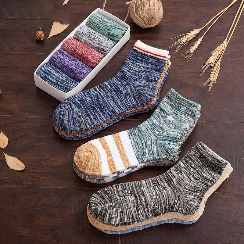 [5 / 10 pairs] socks mens medium tube socks socks autumn and winter retro mens socks deodorant and sweat absorbing sports socks for men