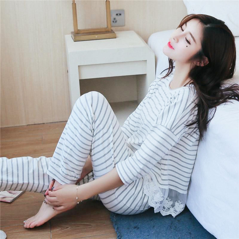 Pajama girl summer girl student Korean long sleeve suit small fresh large loose home clothes spring and Autumn Moon clothes