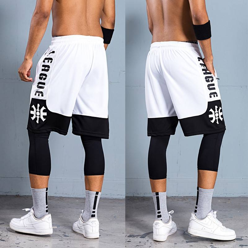 Basketball pants sports shorts mens summer running loose size over knee Capris fitness training pants quick drying shorts