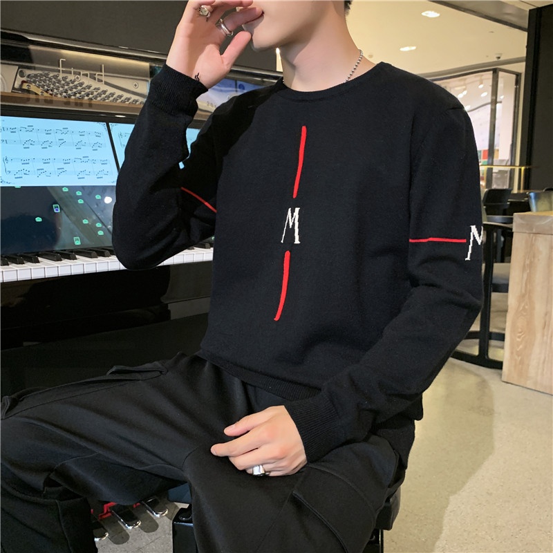 2019 sweater mens wear autumn winter round neck Korean personality trend loose bottomed sweater mens T-shirt sheep