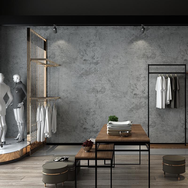 水泥灰色墙纸复古怀旧北欧工业风壁纸商场服装店餐厅饭店网咖发廊