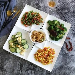 陶瓷海鲜拼盘组合摆盘圆形菜盘子