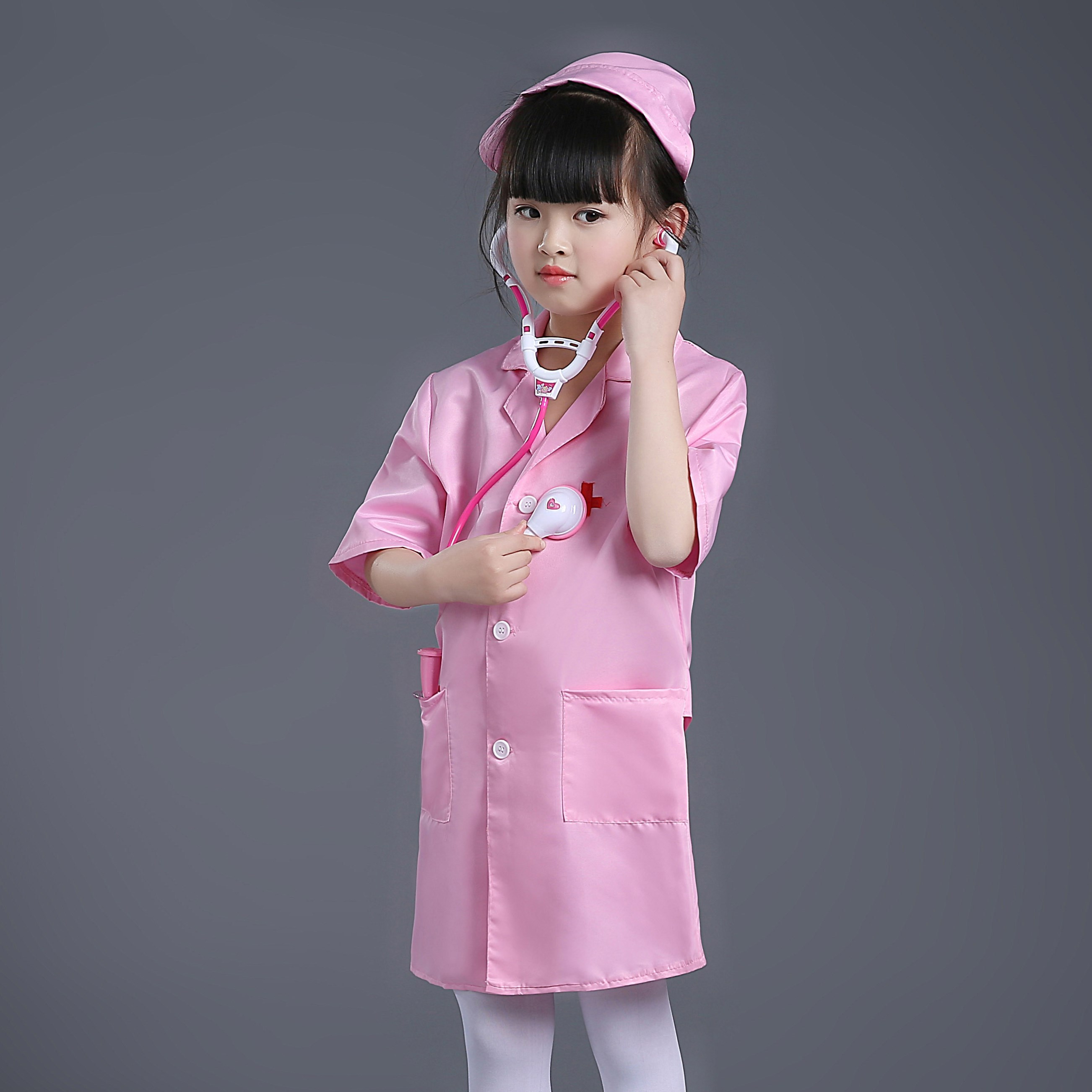 A kind of The nurse plays the role of small white dress and slim coat