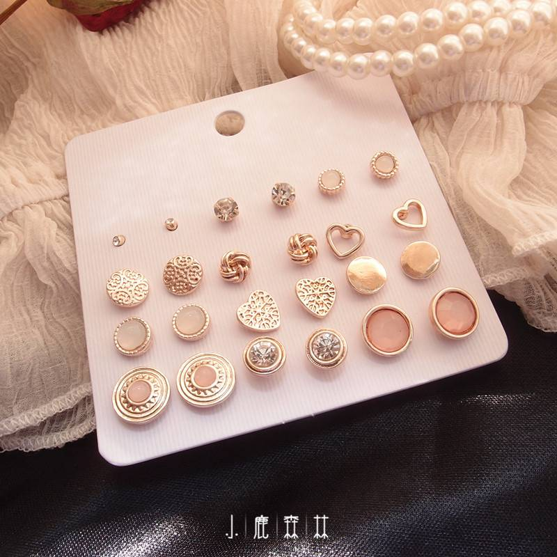 Super value 12 pairs of Set Earrings with simple Gem Love water diamond Baroque pattern earrings earrings female Earrings