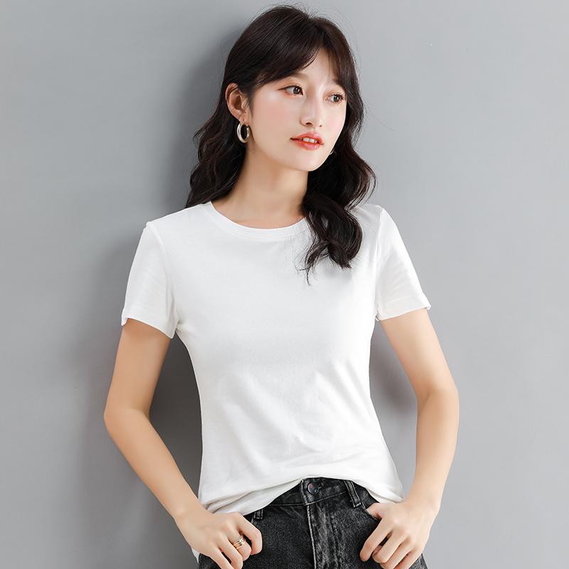 2021春夏新款韩版修身显瘦黑色圆领T恤女简约短袖内搭打底衫ins