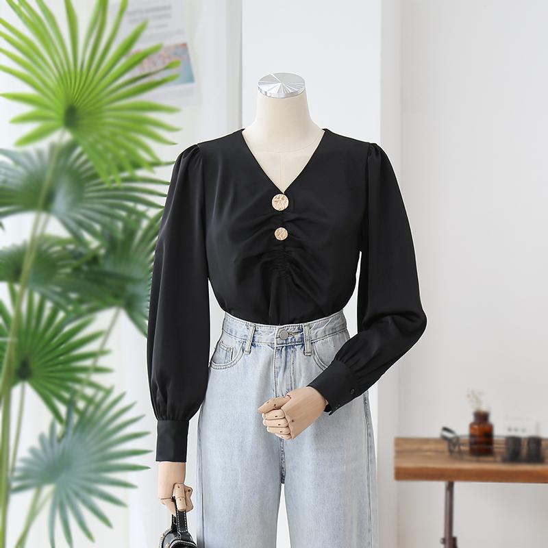 满4元可用3元优惠券黑色灯笼袖双皱褶雪纺衬衫女设计感小众洋气时尚上衣宽松V领衬衣