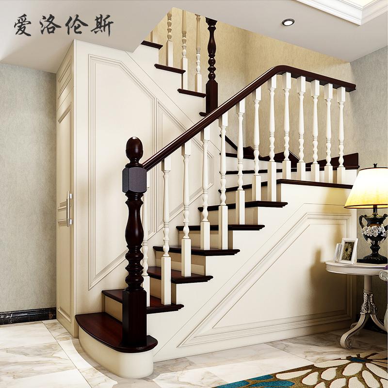 定制整体实木楼梯 阁楼楼梯 家用复试楼梯 楼梯护栏 玻璃楼梯扶手