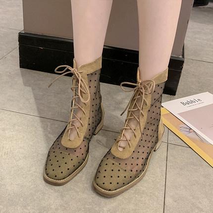 系带马丁靴女短靴低跟图片