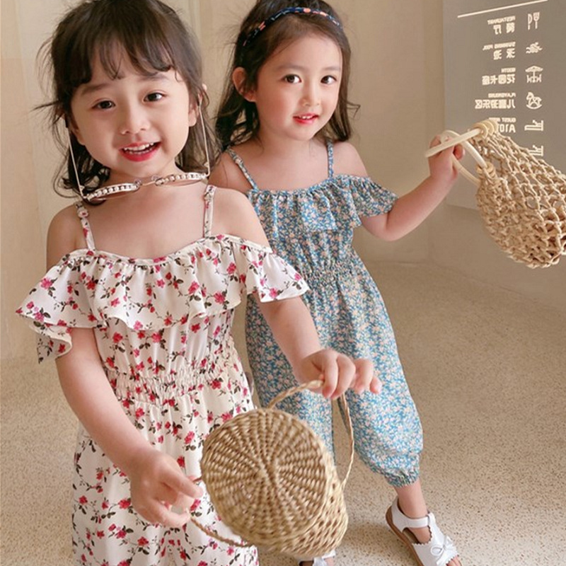Girls one-piece pants summer wear new floral off shoulder one-piece clothes childrens net red one-piece clothes