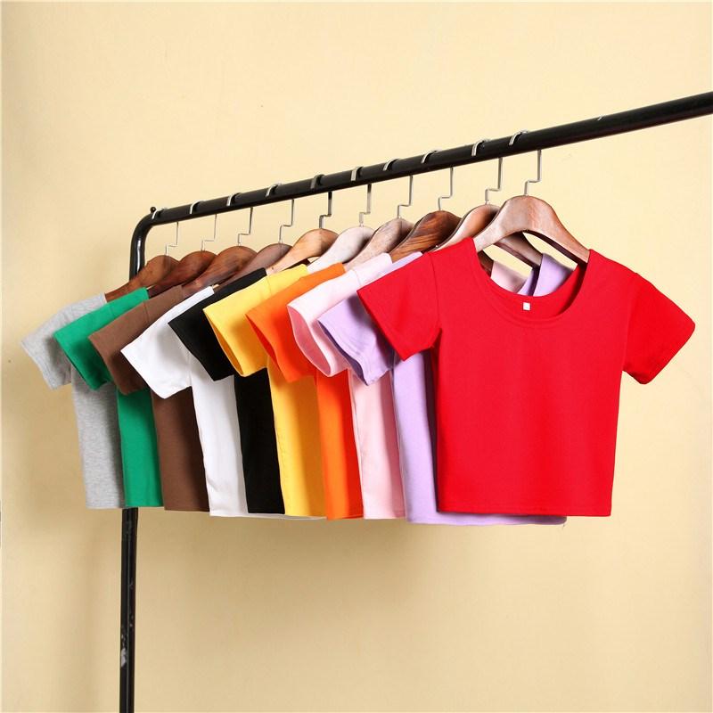 (用7.1元券)橙色黑色短袖紧身女性感姐妹装t恤