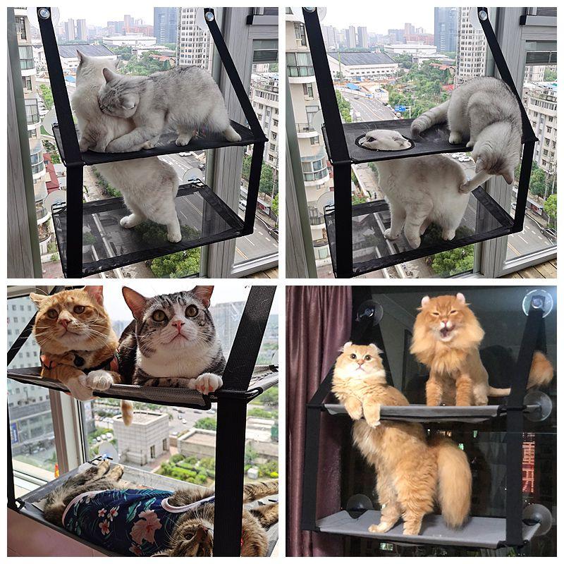 猫吊床双层吸盘式挂窝kh阳台玻璃窗户窗台挂式宠物猫咪秋千猫窝