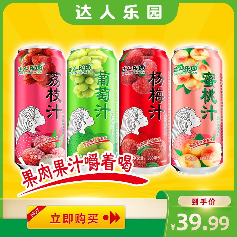 达人乐园果肉果粒果汁500ml×8罐整箱葡萄水蜜桃荔枝杨梅水果饮料