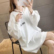 大码女装春装2020年新款中长款卫衣女薄款韩版宽松胖妹妹显瘦上衣