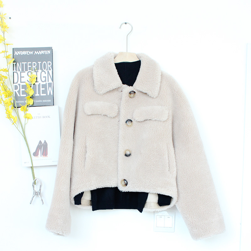 Cashmere warm coat light camel short solid color casual winter Plush thick suede single breasted top