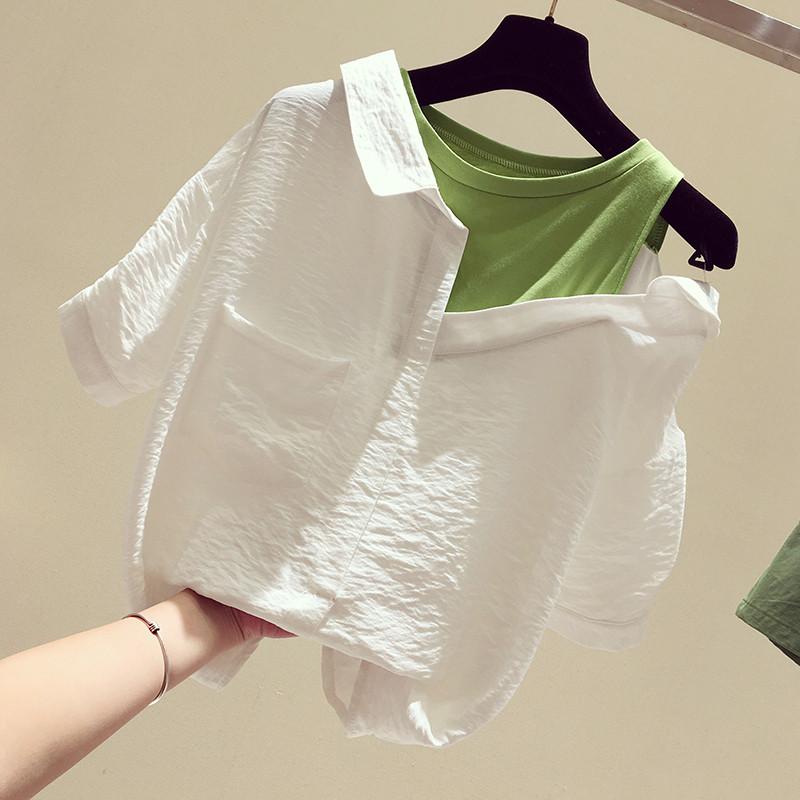 白色露肩衬衫女设计感小众2020新款韩版假两件拼接套头短袖上衣夏