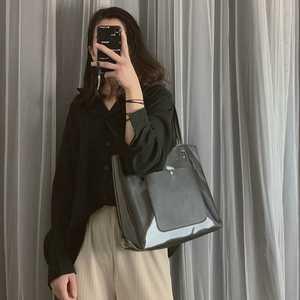 包包女包新款2019夏天简约手提包透明果冻单肩包大容量通勤公文包