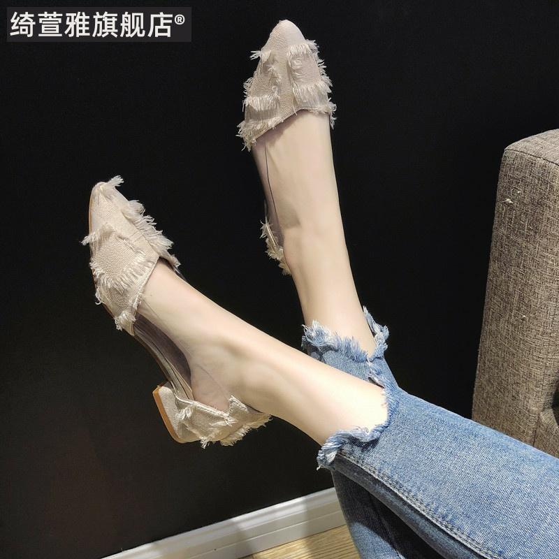 单鞋女2019夏款春款平底中跟夏季凉鞋百搭秋鞋子潮鞋网红仙女温柔
