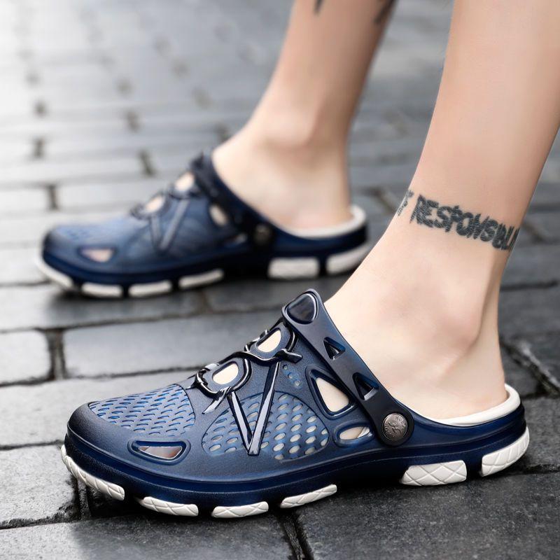 夏季洞洞鞋男士包头凉鞋休闲时尚半拖鞋防滑懒人沙滩鞋凉拖男。10月16日最新优惠
