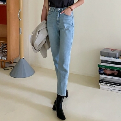 Mike, Korea dongdamen buys new knock-on versatile old tapered jeans for women in early autumn
