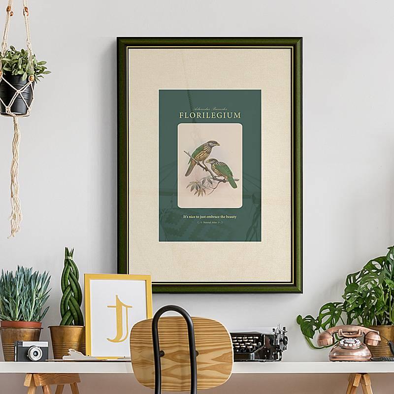 。极乐鸟 美式复古玄关装饰画绿色轻奢小众挂画天堂鸟名画餐厅壁