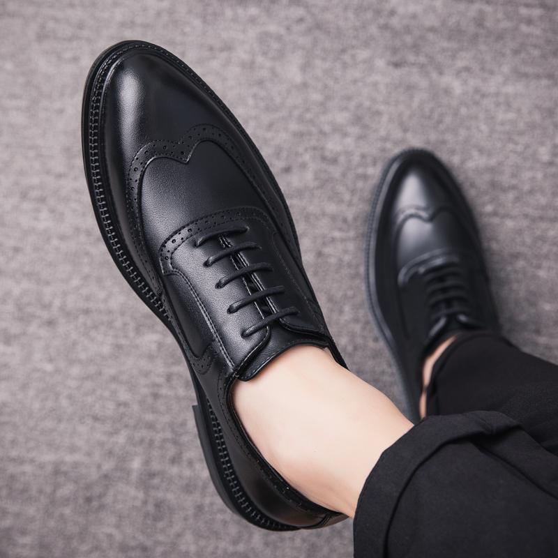 布洛克皮鞋男韩版潮流英伦休闲鞋